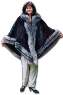 Mink Cape with Silver Fox Trim